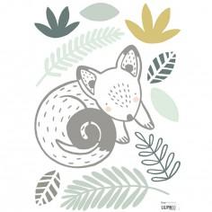Planche A3 de stickers opossum et feuillages