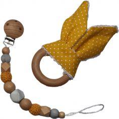Coffret anneau de dentition et attache sucette en bois Lapinou jaune