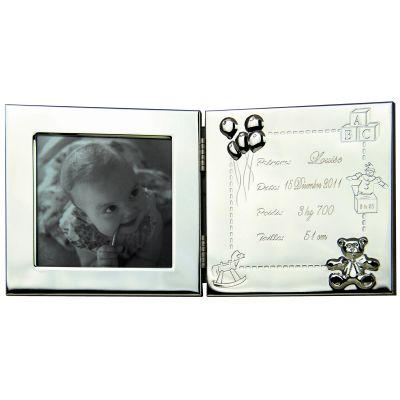 cadre photo double personnalisable m tal argent par valentin gravure. Black Bedroom Furniture Sets. Home Design Ideas