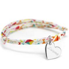 Bracelet cordon liberty Kids coeur avec fermoir personnalisable (argent 925°)