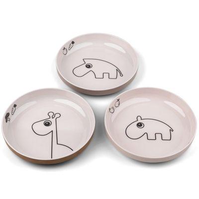 Lot de 3 assiettes à rebords Deer friends rose et jaune Yummy mini  par Done by Deer