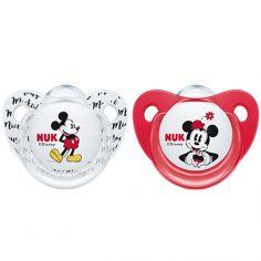 Lot de 2 sucettes physiologiques Mickey et Minnie (6-18 mois)