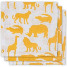 Lot de 3 mini langes Safari jaune (31 x 31 cm)