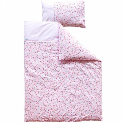 parure de lit housse de couette et taie d oreiller pink blossom 120 x 150 cm par little dutch. Black Bedroom Furniture Sets. Home Design Ideas