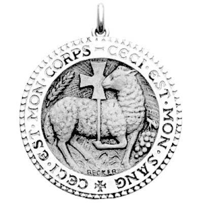 Médaille Agneau Mystique  (or blanc 750°)