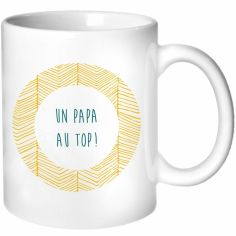 Mug pour les papas à rayures jaunes (personnalisable)