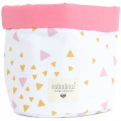 Panier de toilette Mambo Confettis rose et jaune miel (15 x 19 cm) - Nobodinoz
