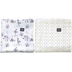 Lot de 2 langes en coton Soft mauve et Bumble (80 x 80 cm)