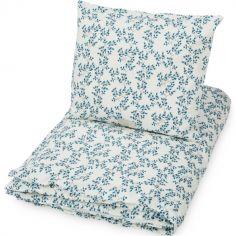 Parure de lit en coton bio Fiori bleue (100 x 140 cm)
