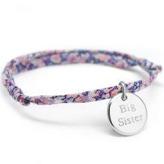 Bracelet cordon liberty Kids médaille ronde personnalisable (argent 925°)