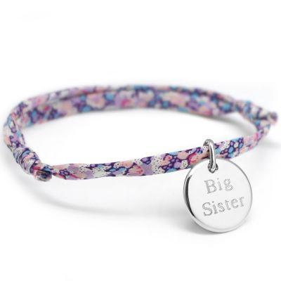 Bracelet cordon liberty Kids médaille ronde personnalisable (argent 925°)  par Petits trésors
