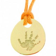 Pendentif empreinte galet zen trou rond avec cordon (or jaune 750°)