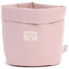 Panier de toilette Panda Nid d'abeille coton bio Misty pink (20 x 24 cm)