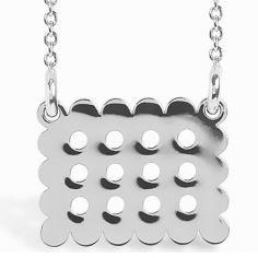 Collier chaîne 40 cm pendentif Mini Coquine cookie 14 mm (argent 925°)