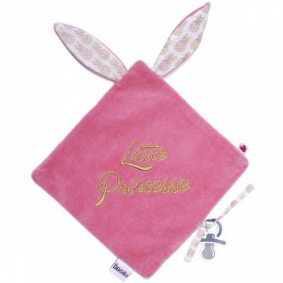 Doudou plat attache sucette Ananas Little princesse BB & Co