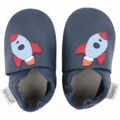 Chaussons en cuir Soft soles bleu marine fusée (9-15 mois) - Bobux