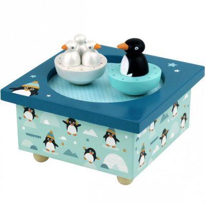 Boîte à musique magnétique famille pingouins  par Trousselier