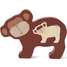 Puzzle bébé à encastrer en bois singe Mr. Monkey