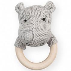 Hochet anneau en bois hippopotame gris