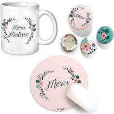 Ensemble Maîtresse tapis de souris mug et badges Fleurs