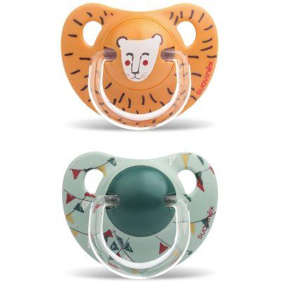 Lot de 2 sucettes physiologiques Circus lion et fanions (18 mois et +)  par Suavinex