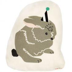 Mini coussin lapin en fête (25 x 19 cm)