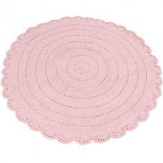 Tapis rond en crochet rose (110 cm)