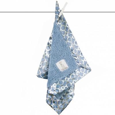 Doudou couverture Chenille lustre matrix bleu (40 x 40 cm) Little giraffe