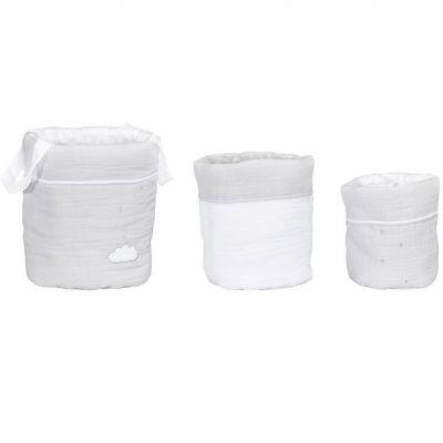 Lot de 3 paniers de toilette Lily grey (18 x 21 cm)  par Sauthon