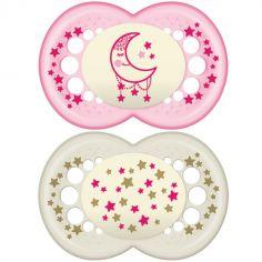 Lot de 2 sucettes anatomiques Nuit lune étoiles roses (18-36 mois)