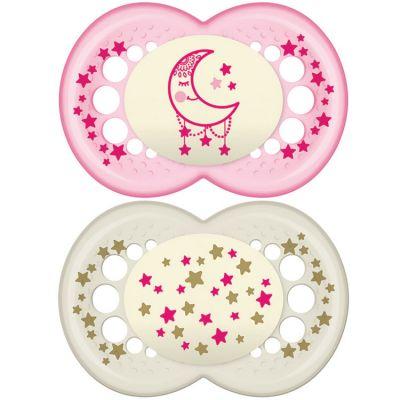 Lot de 2 sucettes anatomiques Nuit lune étoiles roses (18-36 mois)  par MAM