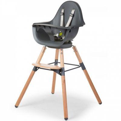 Chaise haute Evolu One.80° naturel et gris  par Childhome