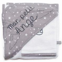 Cape de bain + gant Mon petit ange blanc et gris étoiles (70 x 70 cm)