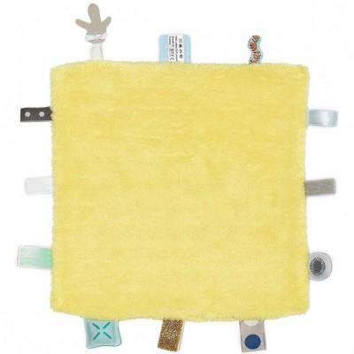 Doudou plat étiquettes Sweet Dreaming Limoncello (25 x 25 cm) Snoozebaby