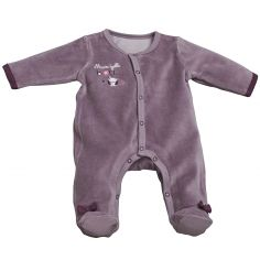 Pyjama chaud Mam'zelle Bou parme (1 mois : 54 cm)