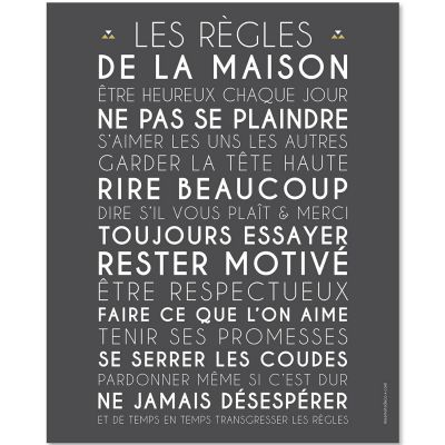 affiche encadrer les r gles de la maison ardoise 40 x 50 cm par mes mots d co. Black Bedroom Furniture Sets. Home Design Ideas