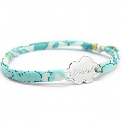 Bracelet cordon liberty nuage personnalisable (argent 925°)  par Petits trésors