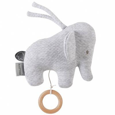 Peluche musicale à suspendre Tembo l'éléphant gris (22 cm)  par Nattou