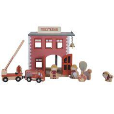 Caserne de pompiers en bois + figurines pour circuit