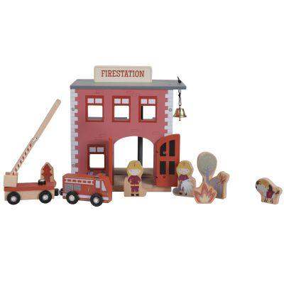 Caserne de pompiers en bois + figurines pour circuit Little Dutch