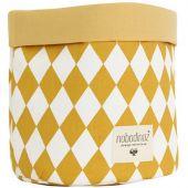 Panier de toilette Mambo Losange jaune miel (25 x 26 cm) - Nobodinoz