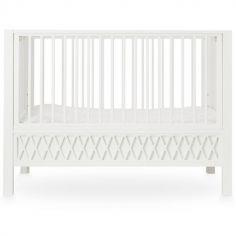 Lit bébé à barreaux Harlequin blanc (60 x 120 cm)