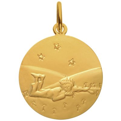 Médaille Le Petit Prince Couché dans l'herbe étoiles 18 mm (or jaune 750°)  par Monnaie de Paris