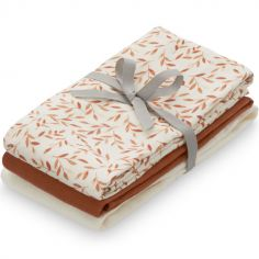 Lot de 3 langes en coton bio Caramel Leaves (70 x 70 cm)