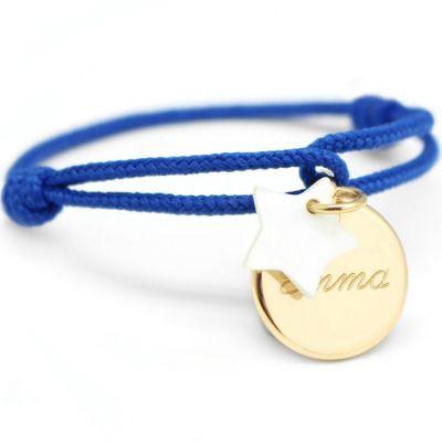Bracelet cordon Kids médaille Etoile nacre plaqué or 10-14 cm (personnalisable)  par Petits trésors