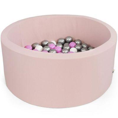 Piscine à balles ronde rose clair personnalisable (100 x 40 cm)