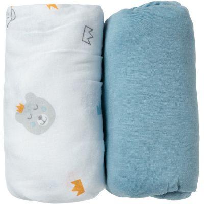 Lot de 2 draps housse Ours bleu (60 x 120 cm)  par Babycalin