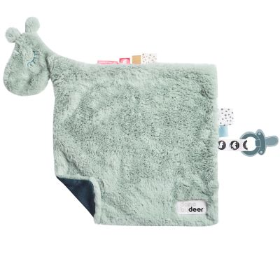Doudou plat attache sucette Raffi vert d'eau Done by Deer