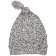 Bonnet de naissance en maille heather grey (0-3 mois)