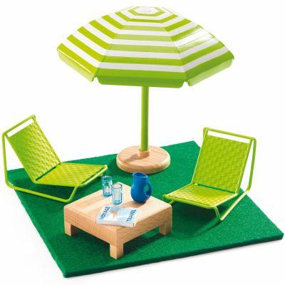 mobilier pour poup e la terrasse djeco berceau magique. Black Bedroom Furniture Sets. Home Design Ideas